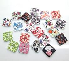 Botões de costura em forma de madeira, 50 peças de flores mistas botões de costura para crianças roupas scrapbooking artesanato decorativo acessórios diy