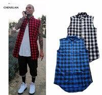CHENXUAN Homme Hommes D'été Style Tyga Swag Hip Hip Hiphop Top t-shirts T-shirts Rouge Noir Bleu Plaid Côté Zzipper Urbain Clothing tissu