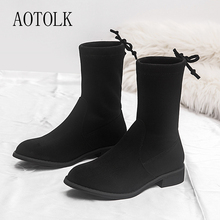 Boots Women Winter Shoes Brand Female Ankle Boots Lace Up Black Thick Heels Round Toe Casual Shoes Ladies Shoes 2019 New Fashion недорого