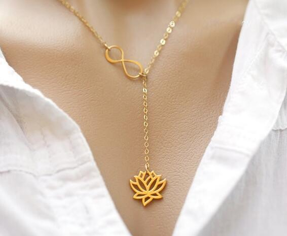 Fashion Infinity Lotus Lariat Pendant Necklace for Women 18″ Link Chain Plant Lotus Flower Jewelry Necklaces Party Gifts