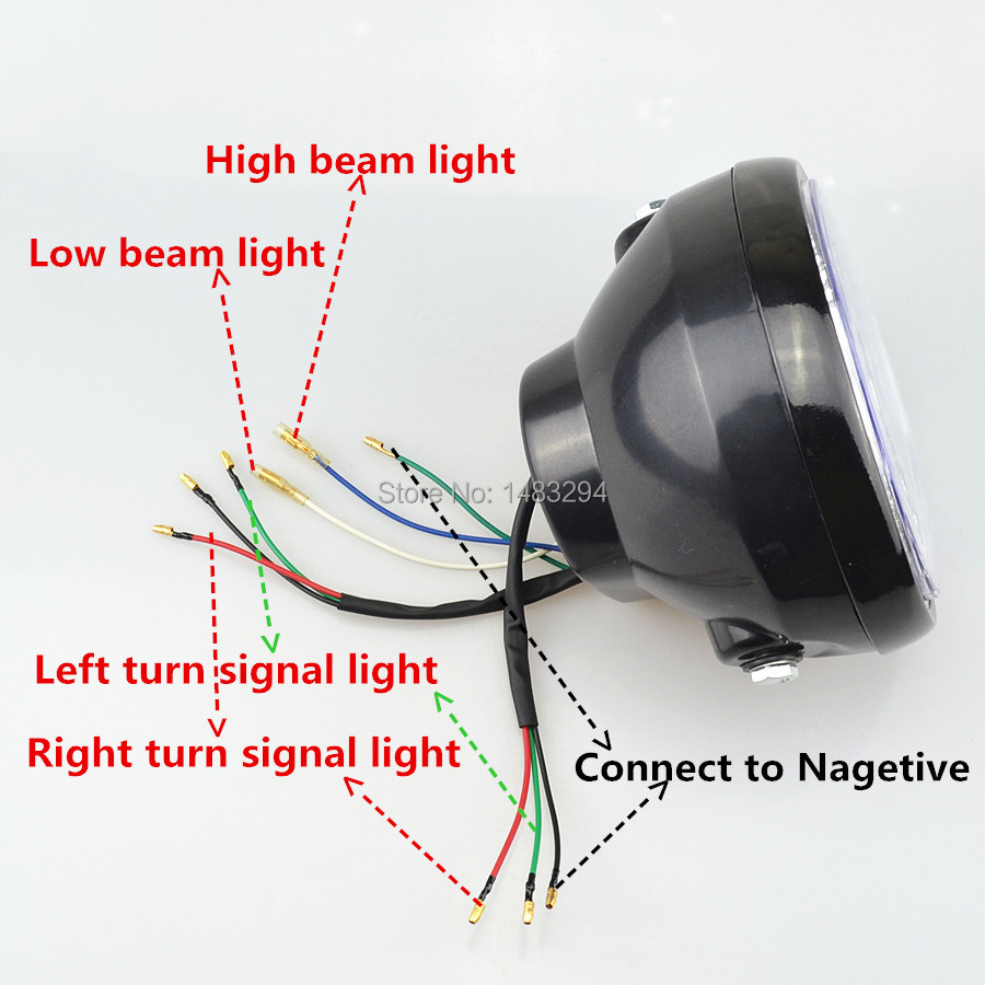 Motorcycle Assembly LED Turn Signal H4 35W Headlight + Bracket Fits ...