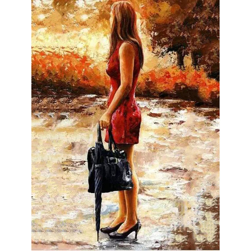 Waiting woman.40x50cm,Painting By Numbers,DIY,wall Art,Living Room Decoration,Scenery,Figure,Animal,Flower,Cartoon