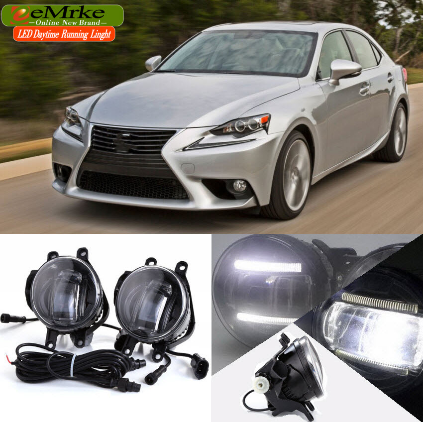 eeMrke 2 in 1 LED DRL Fog Light Lamp For Lexus Lexus IS250 IS350 I-SF / F-Sport LED Daytime Running Lights With Projector Lens eemrke car styling for opel zafira opc 2005 2011 2 in 1 led fog light lamp drl with lens daytime running lights