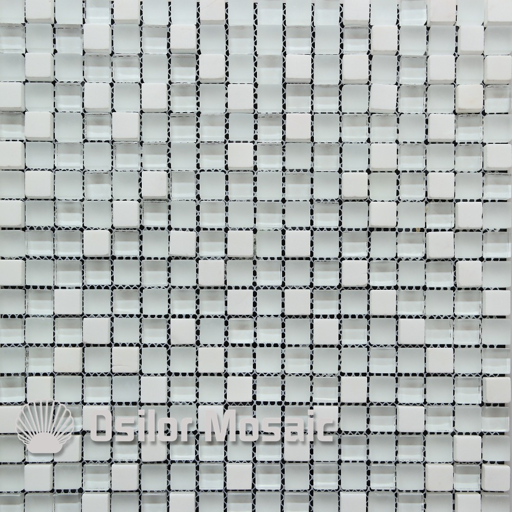 Free shipping white glass and stone mosaic tile for bathroom and kitchen backsplash wall tile home improvement marble stone mosaic tiles natural jade style kitchen backsplash art wall floor decor free shipping lsmb101