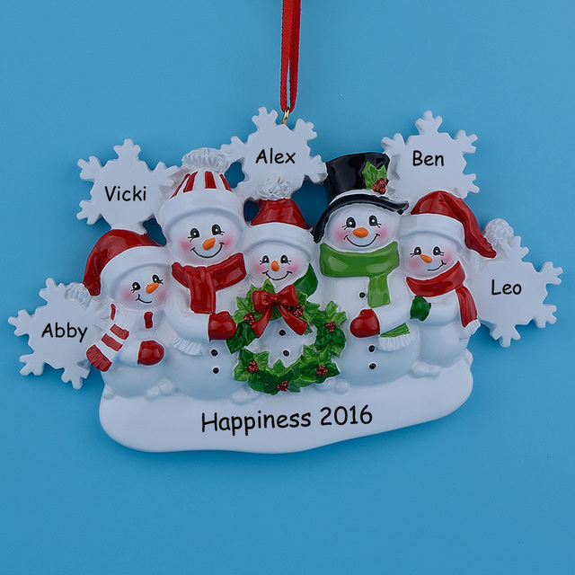 Wholesale Snowman Family of 5 Resin Christmas Tree Ornaments For ...
