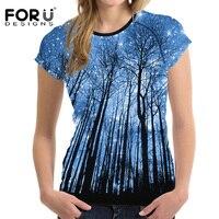 FORUDESIGNS Tshirt Women 3D Starry Sky Tree Woman Tops Short Sleeved Casual Shirt For Women Slim