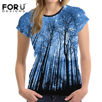 FORUDESIGNS Tshirt Women 3D Starry Sky Tree Woman Tops Short Sleeved Casual Shirt For Women Slim