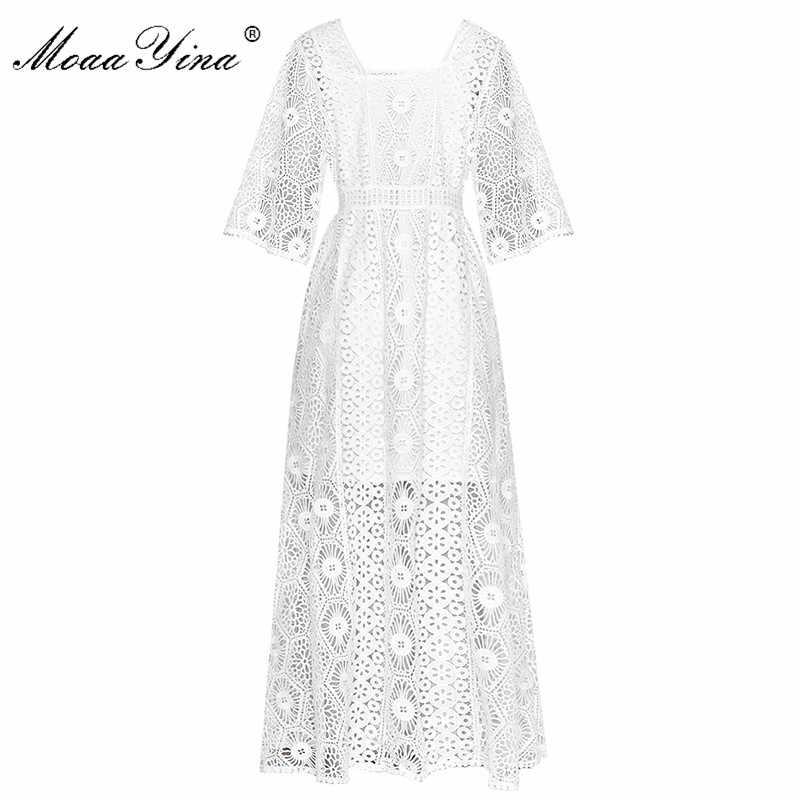 MoaaYina модное дизайнерское подиумное платье Весна Осень женское платье кружевное открытое белое Макси платье