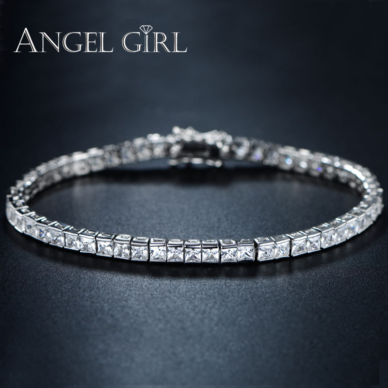 AngelGirl Elegant Square 4mm cz टेनिस ब्रेसलेट और चूड़ी महिला और पुरुषों के लिए व्हाइट गोल्ड रंग चमकदार कंगन सुरुचिपूर्ण गहने