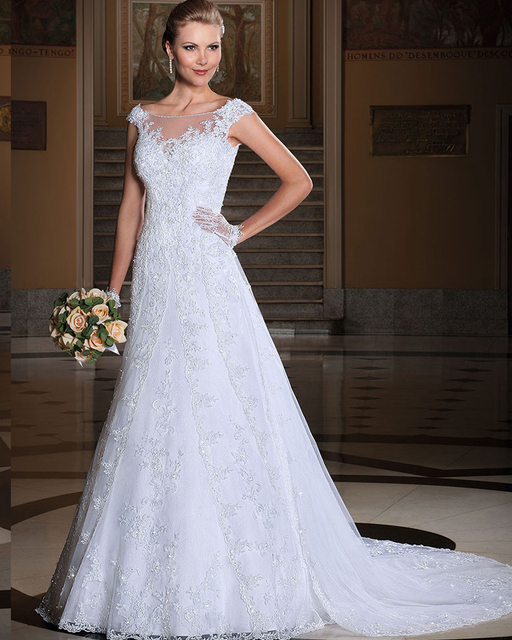 Amdml Classic Lace Beaded Bodice Organza Skirt A-Line Wedding Dresses 2016 Appliques Cap-Sleeve Detachable Train Bridal Gowns