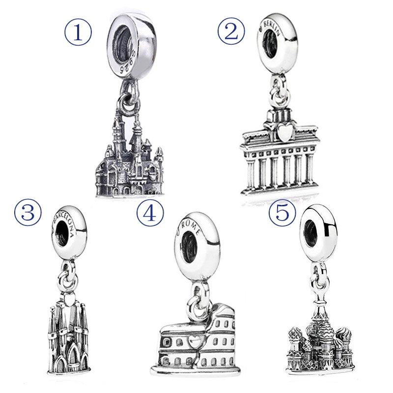 23ab02f7244 Roman Colosseum La Sagrada Familia ST. Basil s Cathedral Pendant Charm Fit  Pandora Bracelet 925 Sterling Silver Bead Jewelry