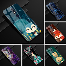 hot deal buy glass cover for nokia 7.1 case moon hard back cover for nokia 7.1 nokia7.1 case soft tpu frame print case for nokia 7.1 2018
