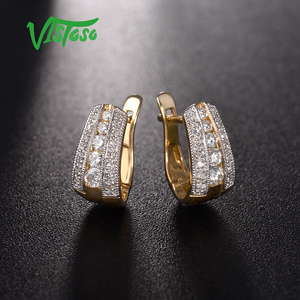 Image 4 - VISTOSO Gold Earrings For Women 9K 375 Yellow Gold Glamorous Elegant Sparkling Diamond Luxury Wedding Engagement Fine Jewelry
