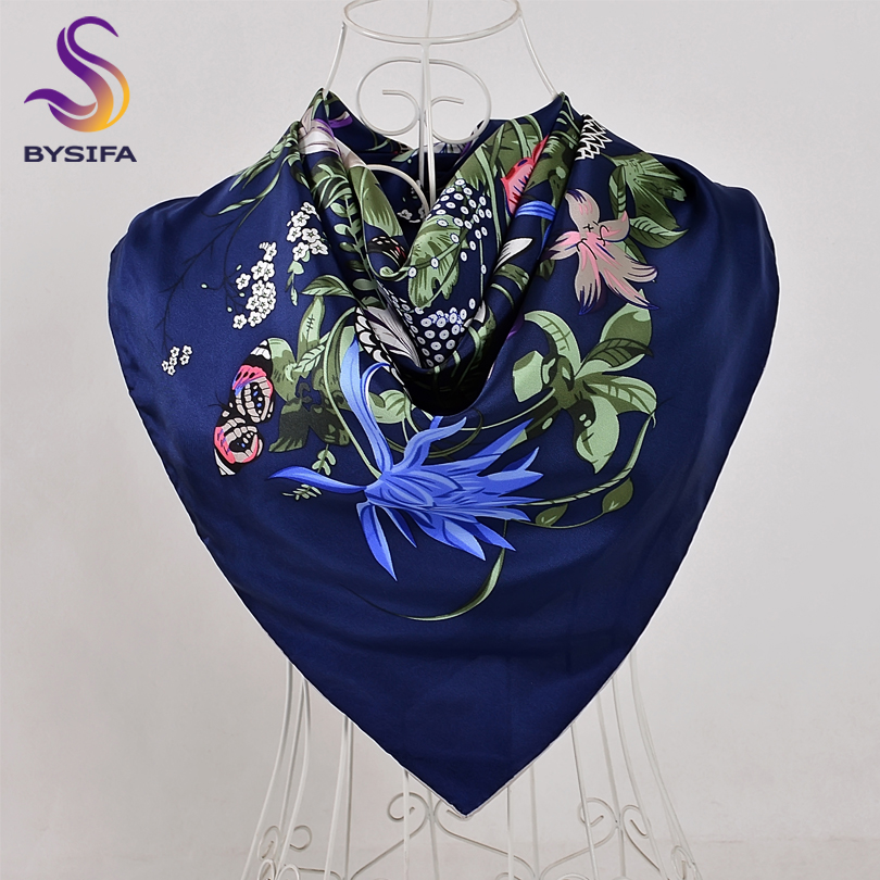 BYSIFA Navy Blue Twill Square   Scarves     Wraps   Fashion Brand Floral Luxury Pure Silk   Scarf   Shawl Spring Autumn Winter Silk   Scarf