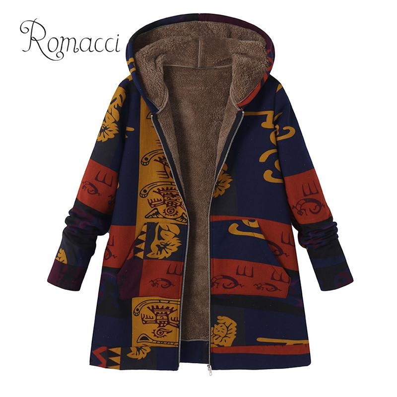 Romacci Manteau Femme Hiver Fashion Women Plus Size Winter Coat Hooded Open Front Thick Warm   Parka   Jacket Outerwear Overcoat
