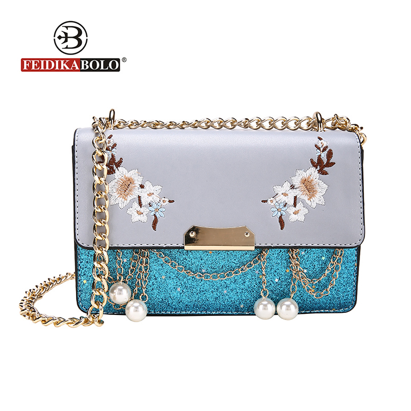 Brand Panelled Embroidery Women Messenger Bags Fashion Floral Women Crossbody Bag Flap High Quality Pearl Chain Women Bag 2018