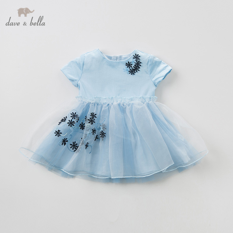 DB10139 dave bella summer baby girl s princess cute floral solid dress children fashion party dress