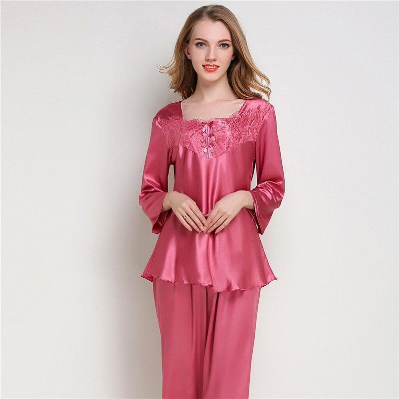 zapatos de separación b0d6b e45d1 € 6.32 40% de DESCUENTO Conjunto de Pijama de satén de seda para Mujer,  Pijama de manga larga, Pijama para Mujer, 2 piezas, ropa interior para  dormir ...