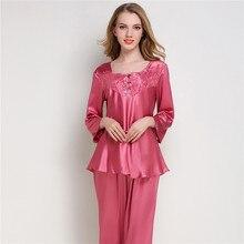 Women Silk Satin Pajama Sets Long Sleeve Sleepwear Pijama Mujer Pyjamas Suit Female 2 Pcs Home