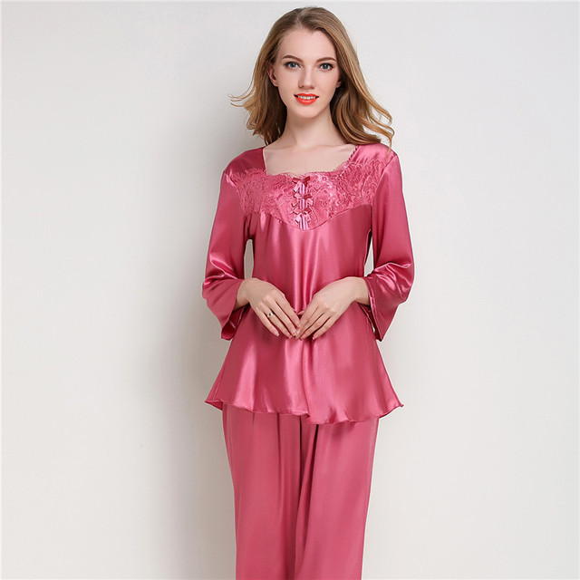 4b7650b9d0 Women Silk Satin Pajama Sets Long Sleeve Sleepwear Pijama Mujer Pyjamas  Suit Female 2 Pcs Home Sleep Wear Lingerie Plus Size