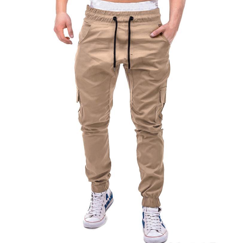 HTB1YzW3Cb5YBuNjSspoq6zeNFXah Men's Pants 2018 Fashion Men's Pure Color Bandage Casual Loose Sweatpants Drawstring Pant       july22