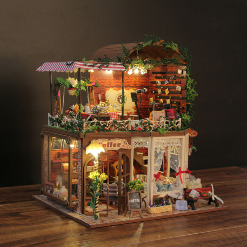 DIY DollHouse Wooden Miniatura Doll house With Furniture 3D LED Light Handmade Toys For Kids Creative Gift Coffee House D015 #E