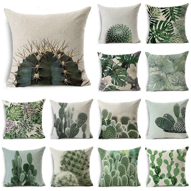 WZH Cactus and succulents Cushion Cover 45x45cm Linen Decorative Pillow Cover Sofa Bed Pillow Case