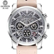 OCHSTIN Leather Sport Men's Watch Luxury Military Male Hour Date Clock Waterproof Skeleton Quartz Wrist Watch Men Reloj Hombre