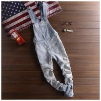 Adult Mens Light Blue Overalls Denim Suspender Pants Men Salopette Jeans New Arrival Slim Straight Jumpsuit 71401