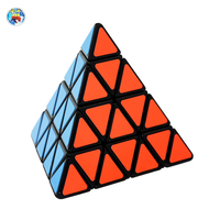 New Arrival Shengshou 4x4x4 Pyraminx Cube Black Pyraminx Magic Cube Puzzle Pyramid 4x4 Special Toys For
