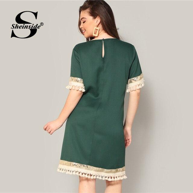 Sheinside Plus Size Elegant Sequin Detail Straight Dress Women 2019 Summer Fringe Sleeve Patchwork Dresses Ladies Midi Dress 2