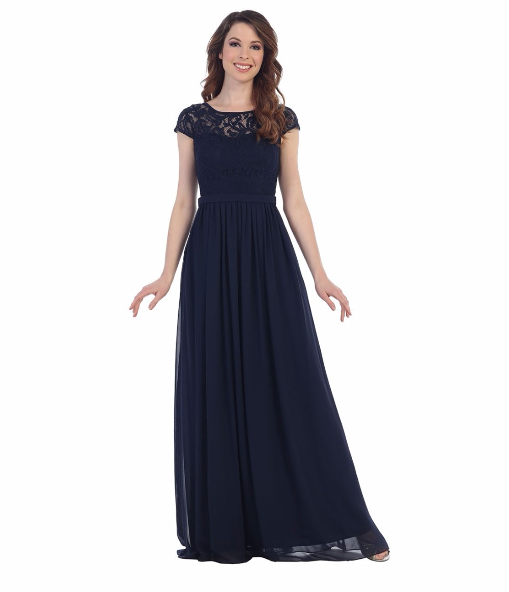 Compare prices on summer navy bridesmaid dresses online shopping navy blue modest bridesmaid dresses long with cap sleeves a line country summer chiffon wedding ombrellifo Gallery