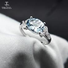 TBJ, натуральный бразильский Аквамарин ov6* 8 1.3ct драгоценный камень кольцо из серебра 925 пробы драгоценный камень ювелирные изделия с подарочной коробкой
