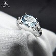TBJ,100% doğal brezilya aquamarine ov6 * 8 1.3ct taş yüzük 925 ayar gümüş değerli taş takı hediye kutusu ile