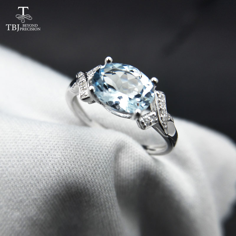 TBJ,100% Natural Brazil Aquamarine Ov6*8 1.3ct Gemstone Ring In 925 Sterling Silver Precious Stone Jewelry With Gift Box