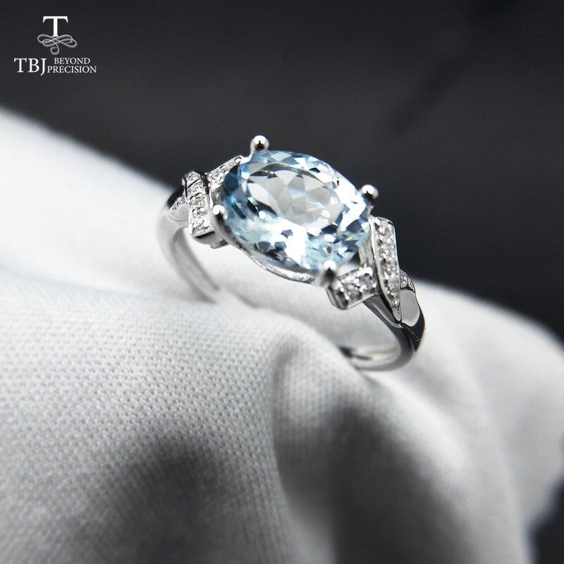 TBJ, 100% naturel Brésil aigue-marine ov6 * 8 1.3ct bague à pierre précieuse en 925 en argent sterling de pierres précieuses pierre bijoux avec boîte-cadeau