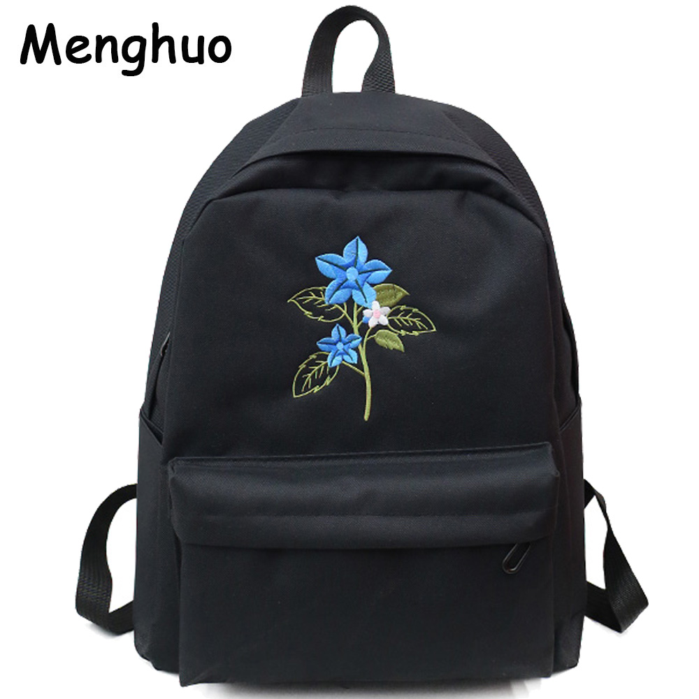 MENGHUO Men and Women Canvas Flower Embroidery Cute Backpack Student  Teenage Girl School Bags Travel Shoulder Bag Black Rucksack-in Backpacks  from Luggage ... ea329e3067