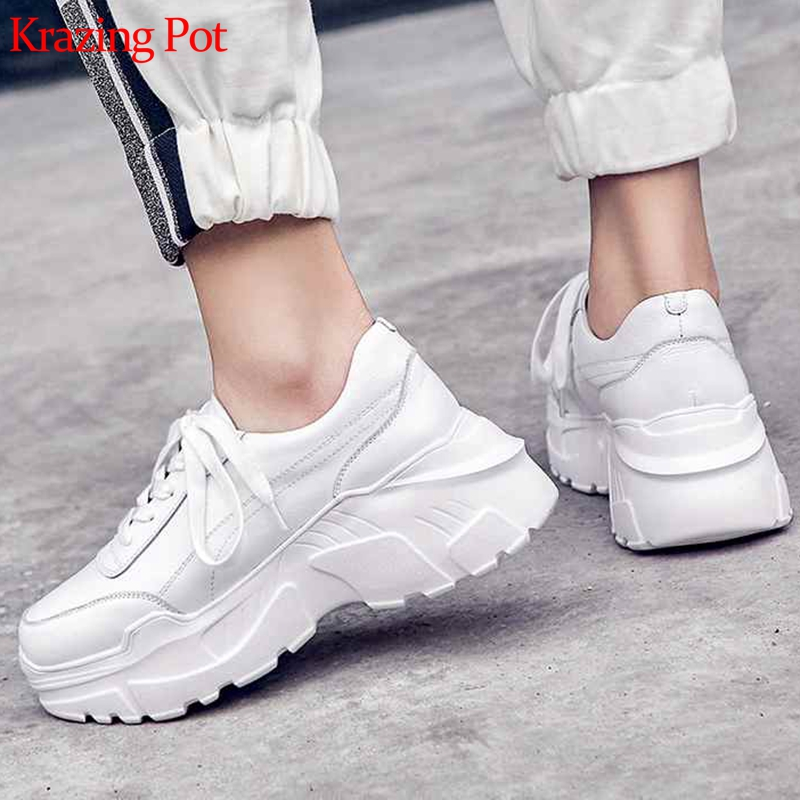 Krazing Pot 2020 Full Grain Leather Platform Streetwear Superstar Lace Up Round Toe White Sneakers Leisure Vulcanized Shoes L97