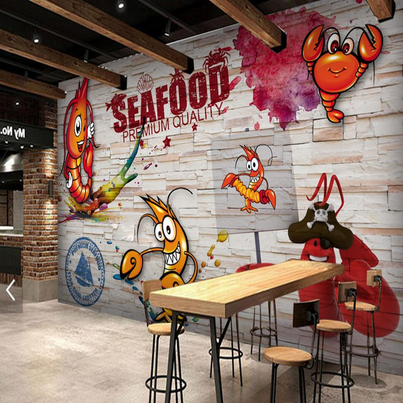 Custom 3d Wallpaper  Wooden Wall Hand Painted Spicy Crayfish Seafood Mural Restaurant Kitchen Decoration Wallpaper