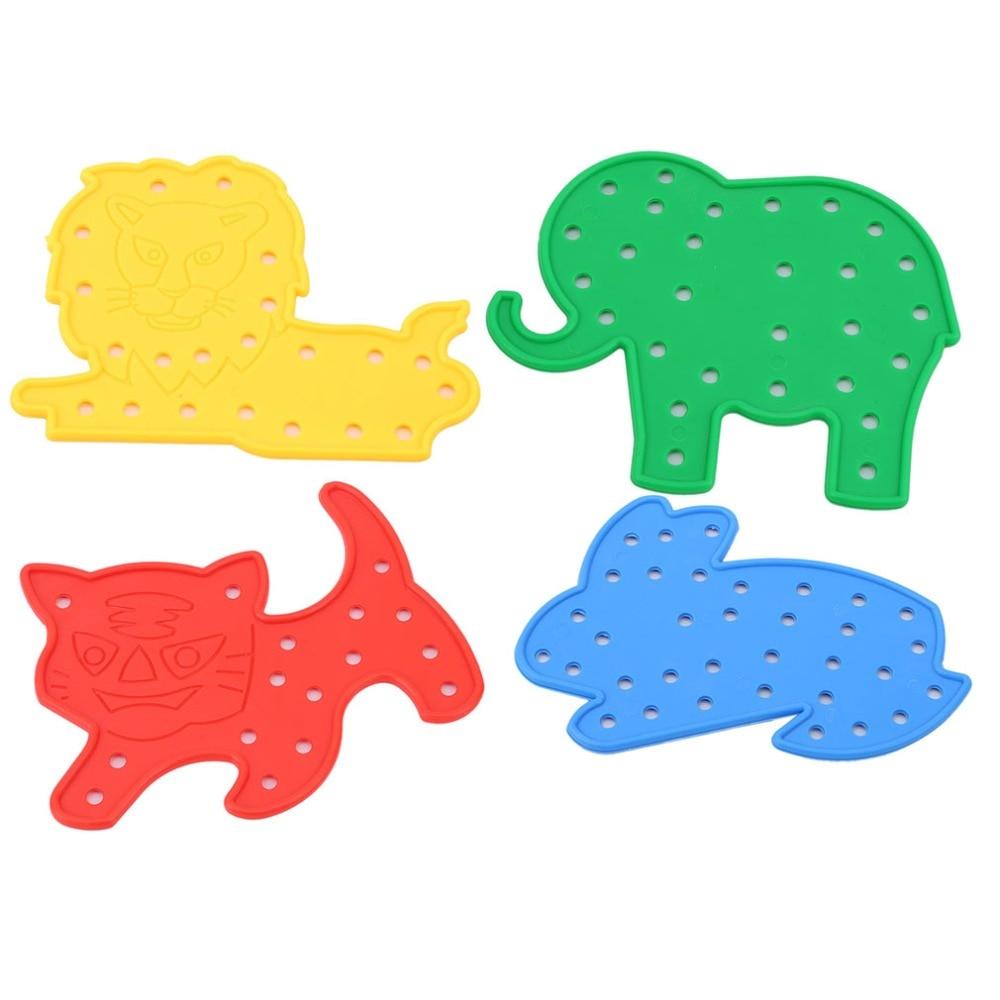 4 Pcs/Set Baby DIY Toy Cartoon Animal Stringing Threading Toy Montessori Baby Kids Children Learning & Education Puzzle Toy