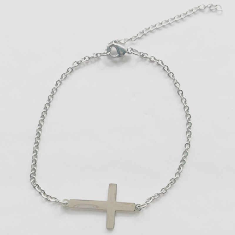 Модные ювелирные изделия женский браслет из нержавеющей стали простые браслеты с крестообразной подвеской для женщин браслеты с крестом регулируемый браслет homme