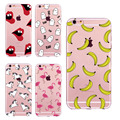 Симпатичные Единорог БУ Фламинго Мороженое Фрукты Банан Кактус Сексуальные Губы Ясно мягкие TPU Silicone Case For iPhone 5 5S SE 6 6 S 7 плюс