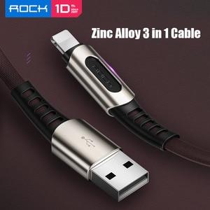 Image 2 - Rock 3 In 1 Usb kabel Voor Smart Mobiele Telefoon Microusb Type C Lader Kabel Voor Iphone Oplaadkabel Micro usb Charger Datum Cord