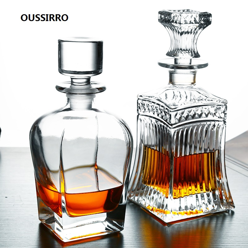 OUSSIRRO Whiskey Decanter Whiskey Bottle Crystal Glass Wine Beer Containers Glass Bottle Glass Cup Home Bar