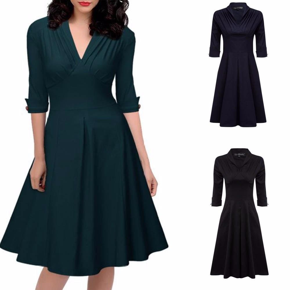 charMma Elegant Europe Style Women Office Dress Large Size Spring ... 68c90b72ea38