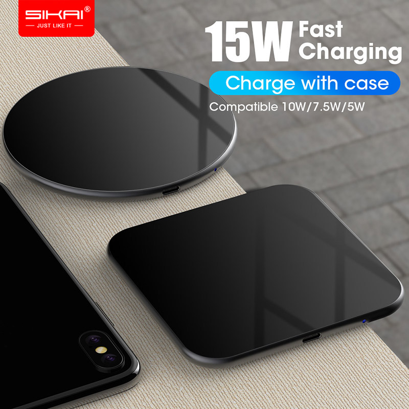 15W QI Quick Charging Wireless Fast Charger usb tpye c QC 3.0 Mobile phone Station For iphone samsung S8 galaxy s10 xiaomi SIKAI 1