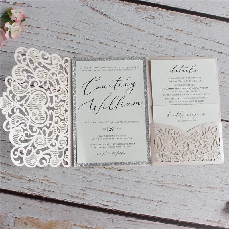 Wedding Invitation Envelope With Glitter Silver Border Insert Soft Pink Floral Heart Laser Cut Invite Holder