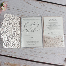 Wedding invitation envelope with glitter silver border insert soft pink floral heart laser cut wedding card holder