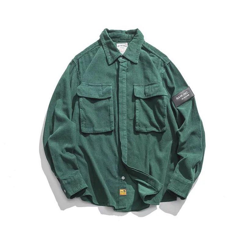 Flannel Shirts Men Casual Autumn Winter Corduroy Warm Shirts Harajuku Japanese Streetwear Vintage Cargo Tactical Pocket Shirts