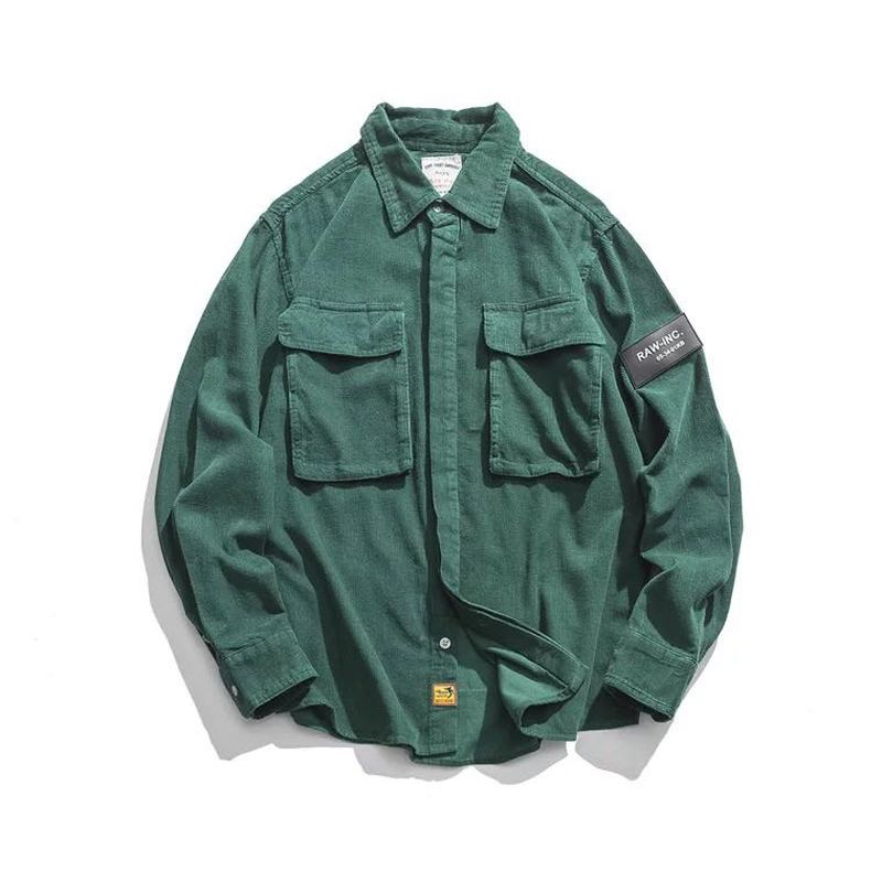 Flannel <font><b>Shirts</b></font> <font><b>Men</b></font> Casual Autumn <font><b>Winter</b></font> Corduroy <font><b>Warm</b></font> <font><b>Shirts</b></font> Harajuku Japanese Streetwear Vintage Cargo Tactical Pocket <font><b>Shirts</b></font> image